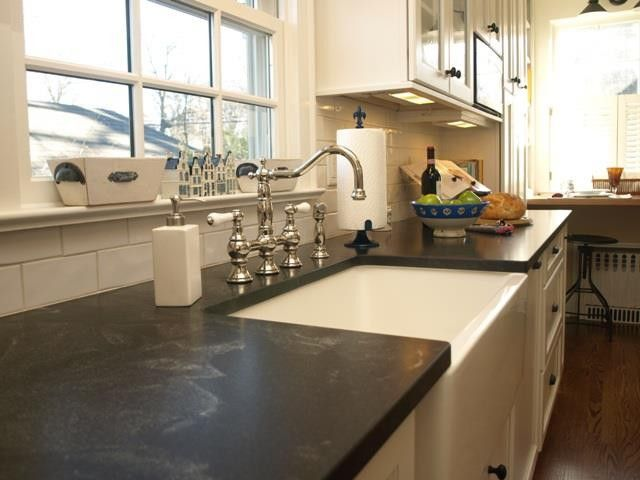 Silestone vs Granite for a Traditional Kitchen with a Rohl Faucet and Chatham by Kitchen Intuitions