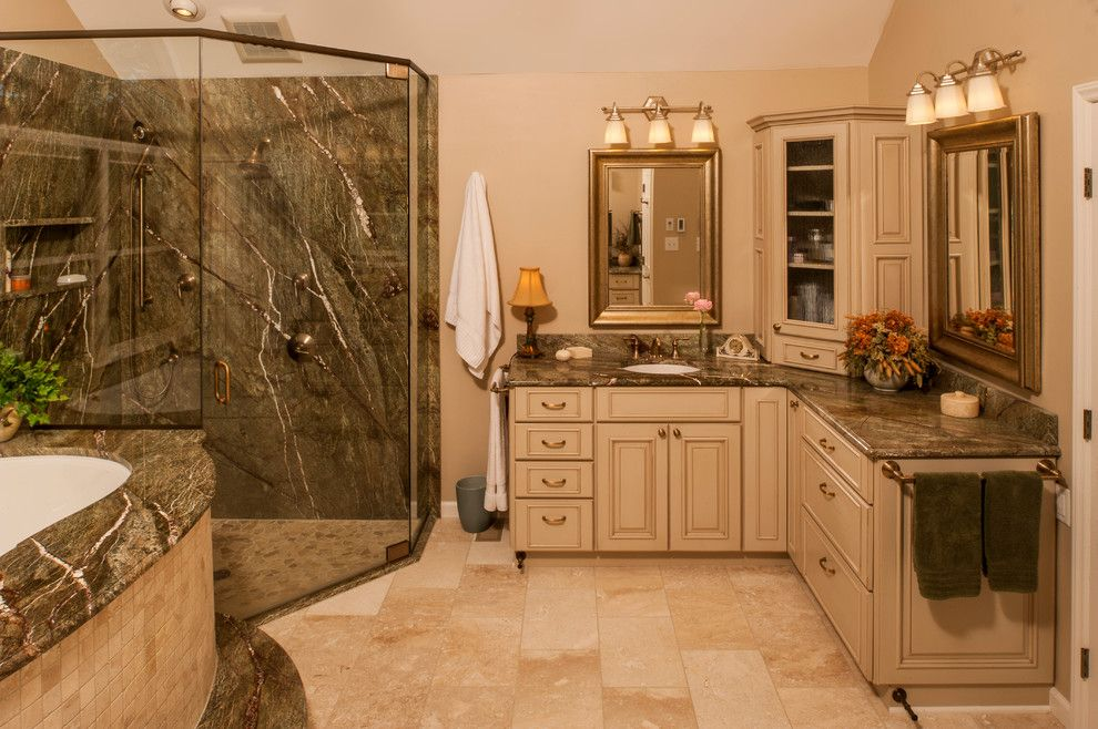 Silestone vs Granite for a Transitional Bathroom with a Beige Wall and Master Bath   Durham, Nc by Steven Paul Whitsitt Photography
