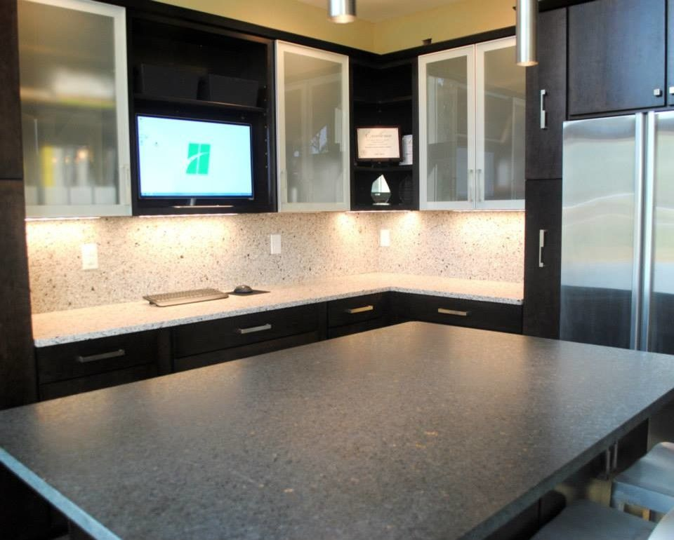 Silver Pearl Granite for a  Kitchen with a  and Maple Rohe Espresso Cabinets, Silver Pearl Granite, Silestone Quartz Backsplash by Hatchett Design/remodel