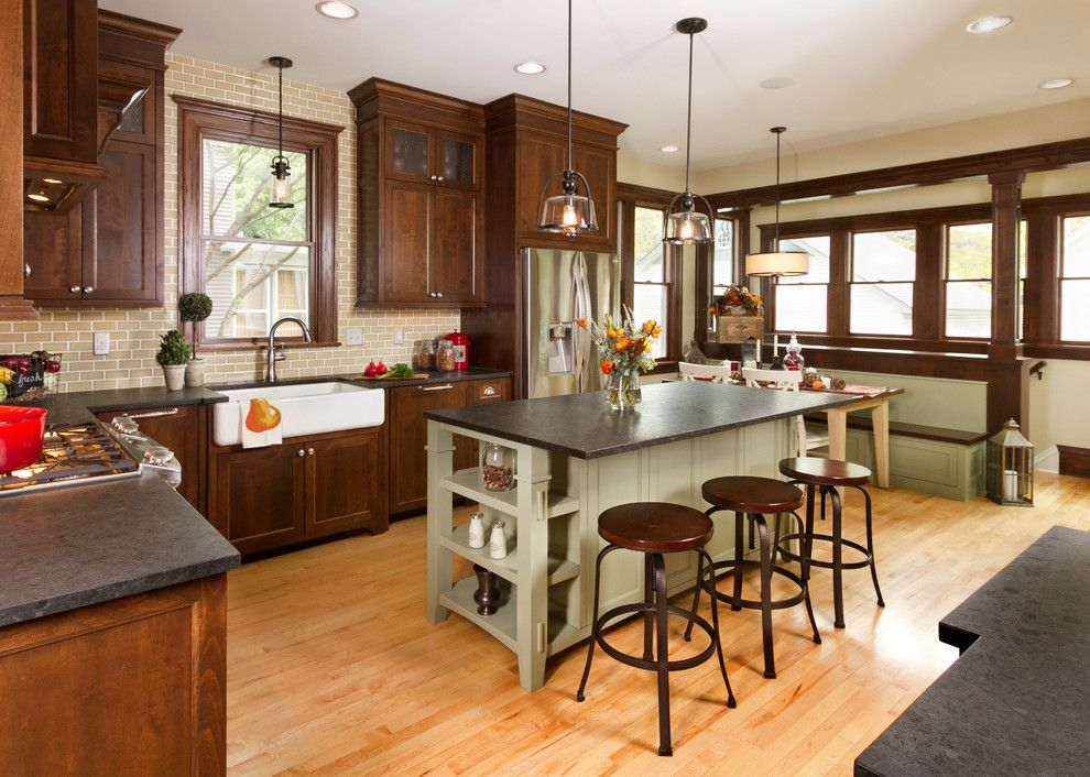 Silver Pearl Granite for a Traditional Kitchen with a Clear Glass Mini Pendant and Historical St. Paul Renovation by Fluidesign Studio