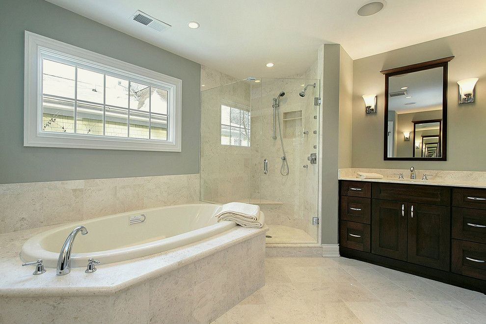 Silver Sage Paint for a  Bathroom with a Porcelain and  Bathroom by Mandybrownarchitects.com