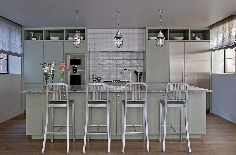 Silver Sage Paint for a Contemporary Kitchen with a Pendant Lights and Wimbledon by Godrich Interiors