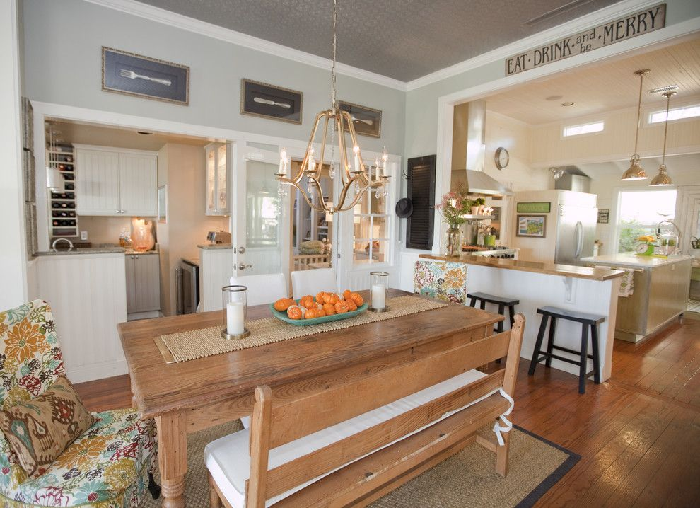 Silver Sage Paint for a Farmhouse Kitchen with a Chandelier and Austin Modern Farmhouse by Van Wicklen Design
