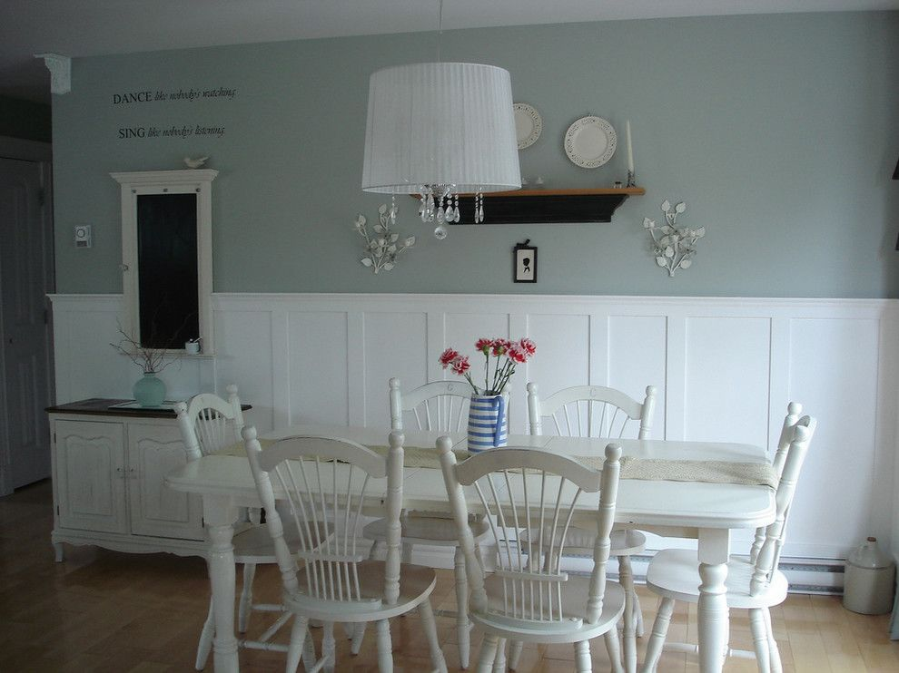 Silver Sage Paint for a Shabby Chic Style Dining Room with a Plate Height and Restyled Home by Restyled Home