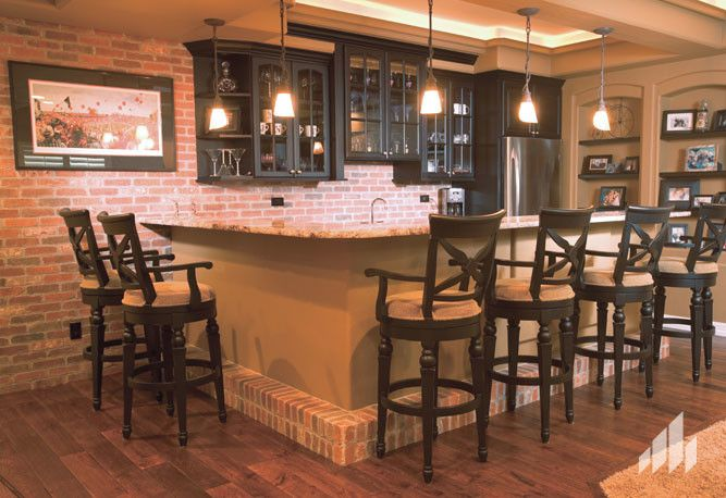 Silverado Building Materials for a  Home Bar with a Accent Wall and Accent Wall Using the Color, Englishpub Thin Brick. by Silverado Building Materials