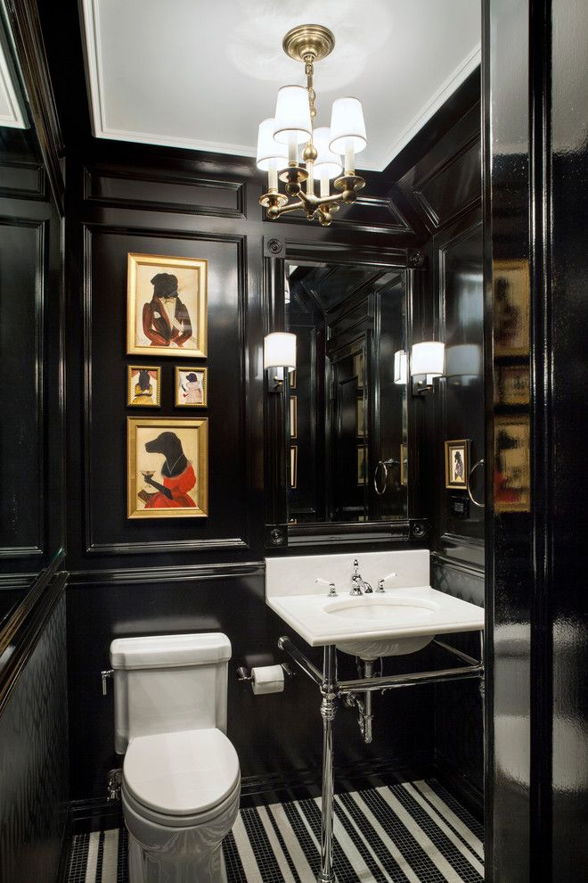 Simons Hardware for a Traditional Powder Room with a Black Glossy Paint and Tribeca Town House by Ofer Wolberger, Ltd.