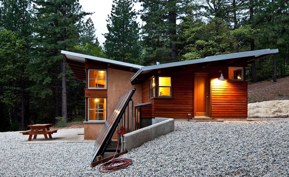Simple Solar Homesteading for a Rustic Exterior with a Cabin and Chalk Hill Off Grid Cabin by Arkin Tilt Architects