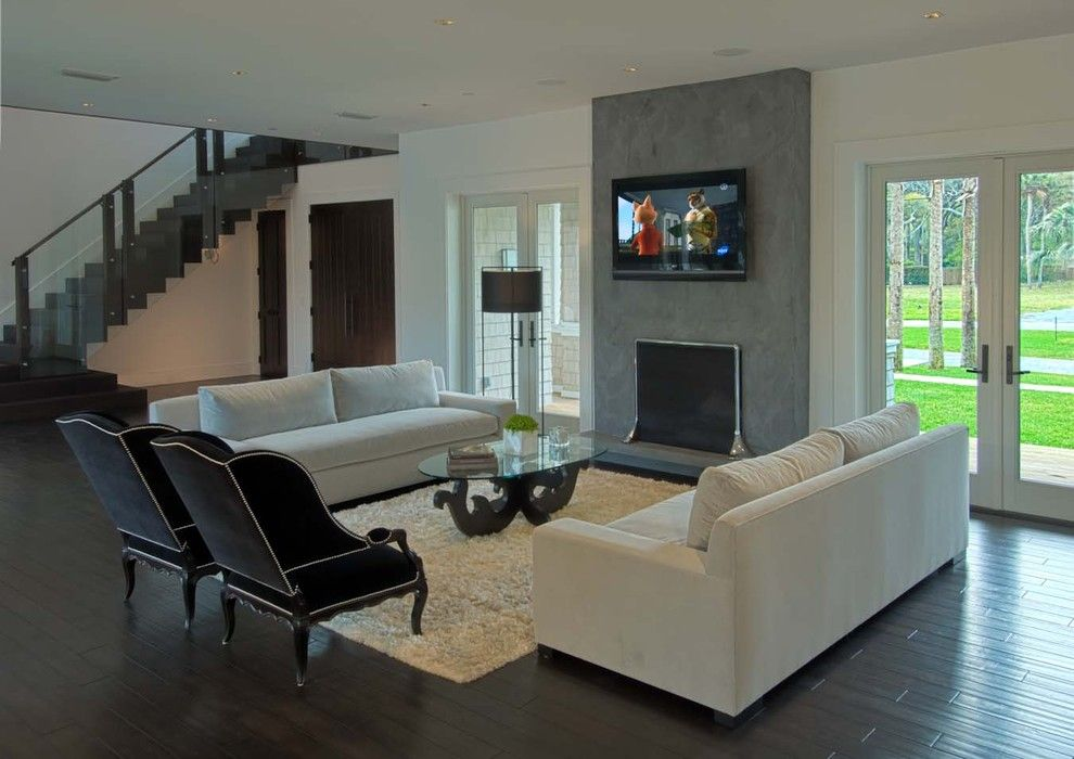 Simplicity Sofas for a Contemporary Living Room with a Dark Wood Floors and Fergusons Residence by Kmh Design, Inc.