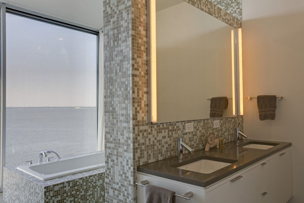 Singing River Electric for a Modern Bathroom with a Waterfront and River House   Bath by Ziger/snead Architects