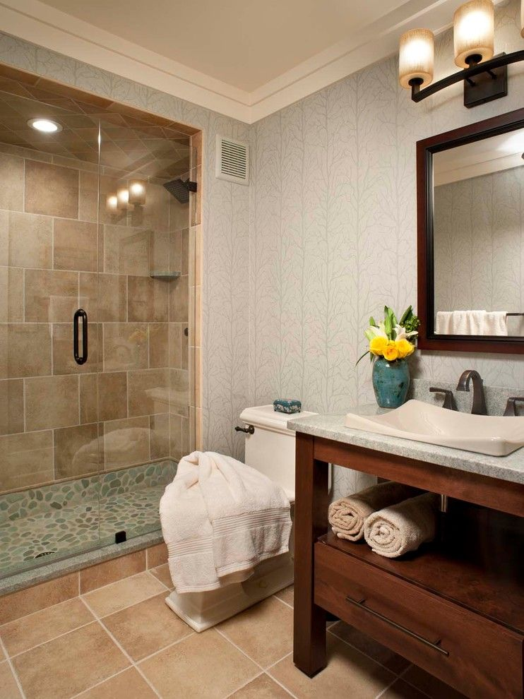 Singing River Electric for a Traditional Bathroom with a Glass Shower Doors and Bertsch Furimsky by Living Stone Construction, Inc.