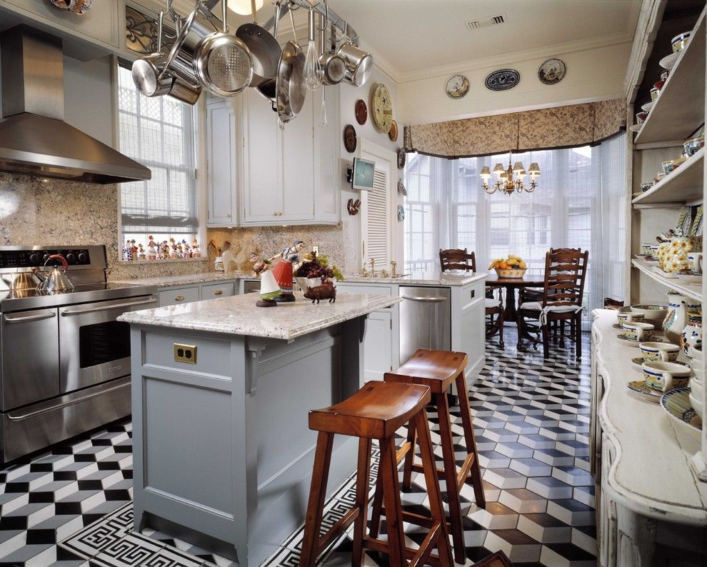 Singing River Electric for a Traditional Kitchen with a Counter Stools and River Oaks Townhouse by Ike Kligerman Barkley
