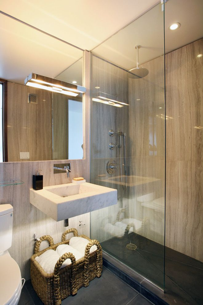 Slv Lighting for a Contemporary Bathroom with a Waterfall Showerhead and 111 West 67th Street - Sold by Caroline Bass Citi Habitats