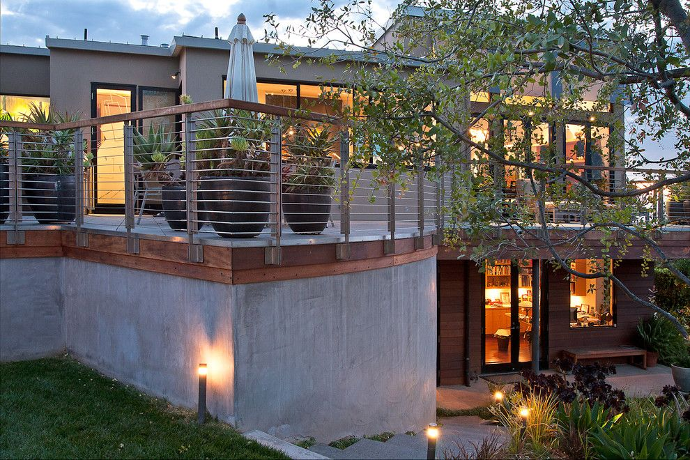 Slv Lighting for a Contemporary Landscape with a Stairs and Rear Terrace by Modern House Architects