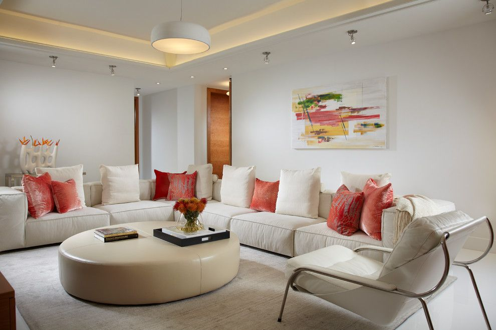 Slv Lighting for a Contemporary Living Room with a Beige Sofa and by J Design Group   Modern Interior Design in Miami   Miami Beach   Contemporary by J Design Group   Interior Designers Miami   Modern