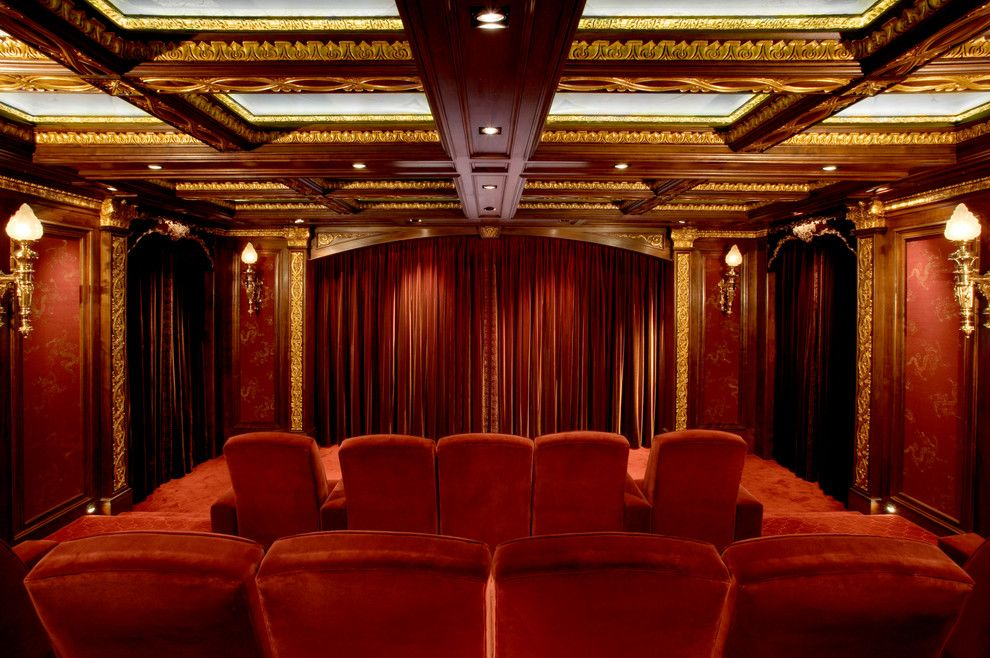 Slv Lighting for a Traditional Home Theater with a Gold Plated and Malinard Manor   Theatre by Cravotta Interiors