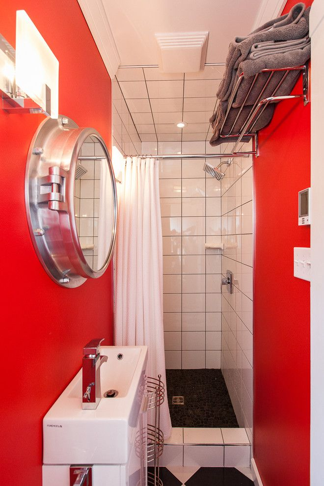 Small Bathroom Makeovers for a Beach Style Bathroom with a Red Wall and Small Space Living in Outport Community, Port Rexton by Becki Peckham