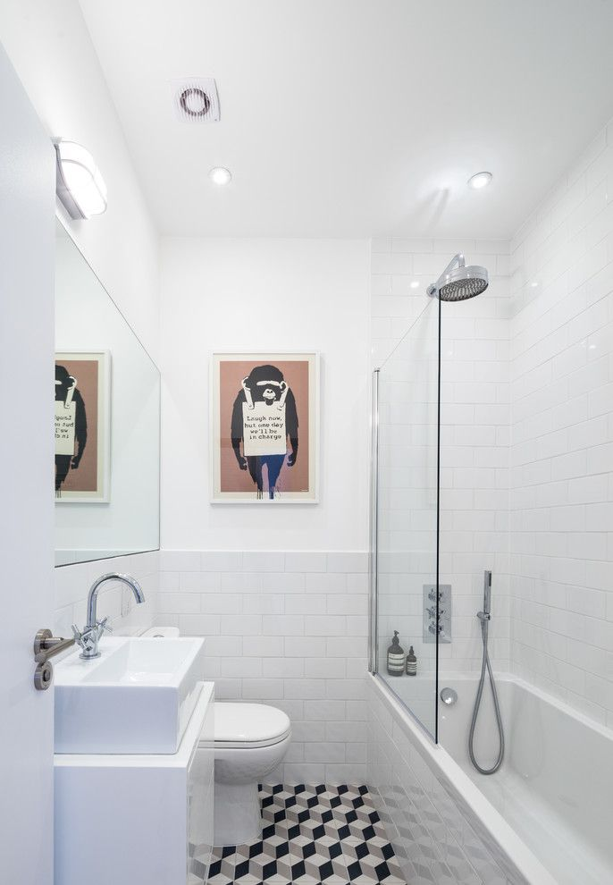 Small Bathroom Makeovers for a Contemporary Bathroom with a Small Bathroom Interior Design and Cathnor Road by Coupdeville