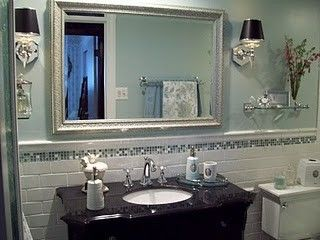 Small Bathroom Makeovers for a Traditional Bathroom with a Small Bathroom and Small Bathroom Makeover   Spa Blue by Tennischik