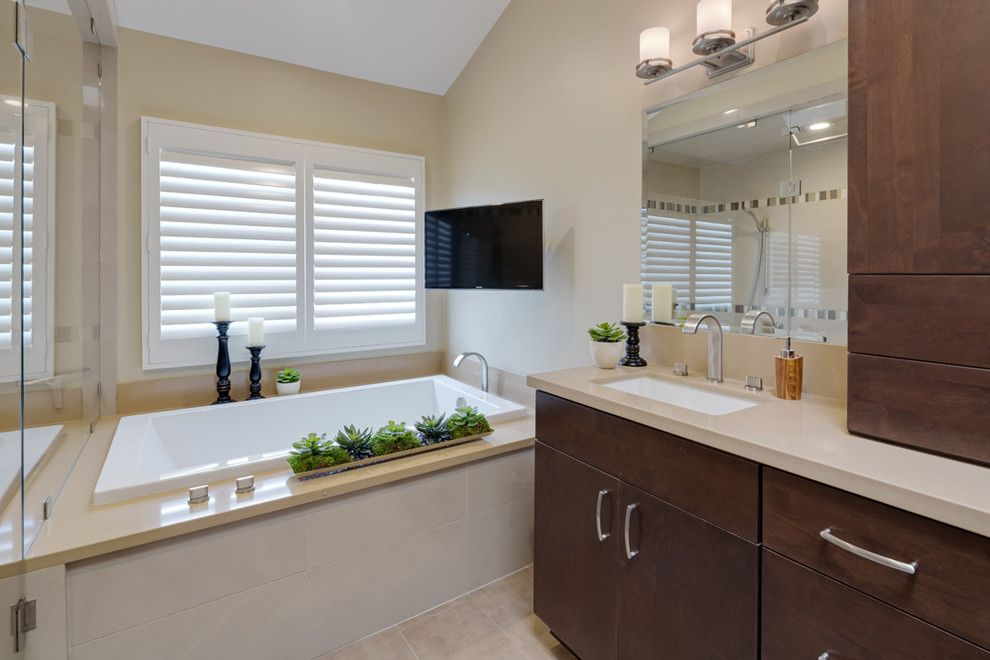 Small Bathroom Makeovers for a Transitional Bathroom with a Open Floor Plan and Irvine Ca by Ferguson Bath, Kitchen & Lighting Gallery