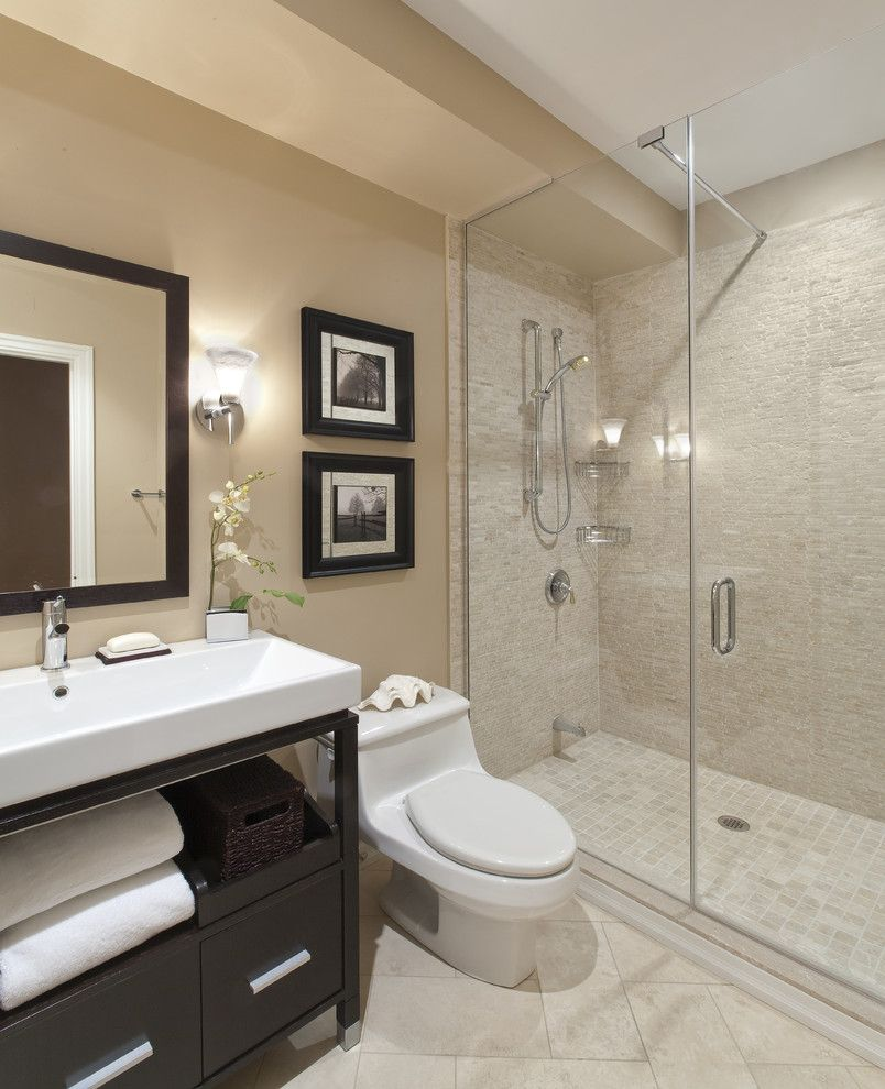 Small Master Bathroom Ideas for a Contemporary Bathroom with a Vessel Sink and Port Credit Townhome by Avalon Interiors