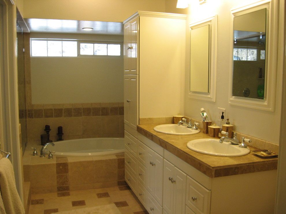 Small Master Bathroom Ideas for a Transitional Bathroom with a Oval Master Bathroom Tub and Small Master Bathroom Renovation by Ideal Design Systems, Inc.