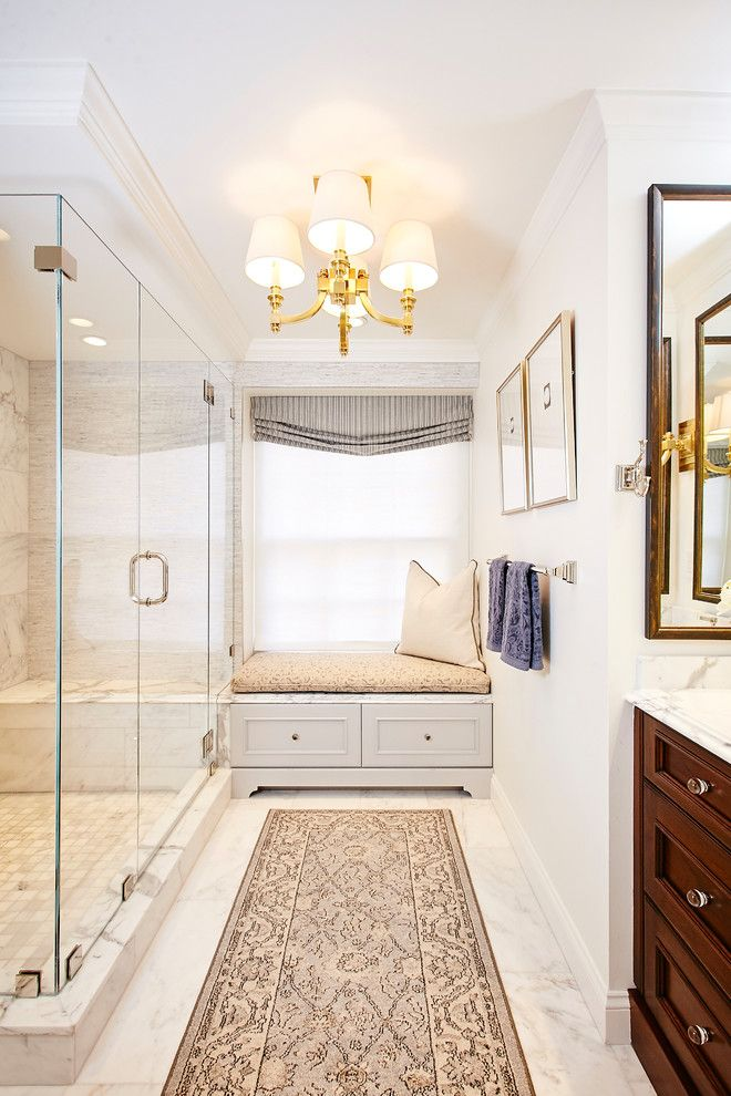 Small Master Bathroom Ideas for a Transitional Bathroom with a Rainfall Tile and Charlestown Condo Bathroom by Lee Kimball