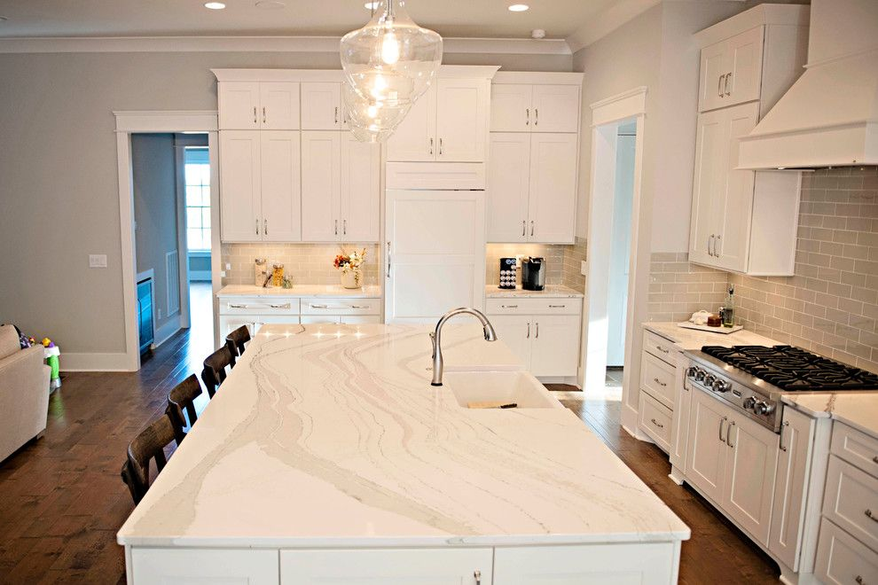 Smokey Mountain Tops for a Transitional Kitchen with a White Kitchen and Brittanicca Beauty by Smokey Mountain Tops