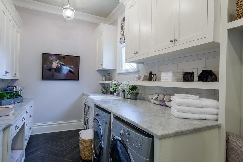 Smokey Mountain Tops for a Transitional Laundry Room with a White Cabinet and Traditional Home O'more Showhouse 2014 by Smokey Mountain Tops