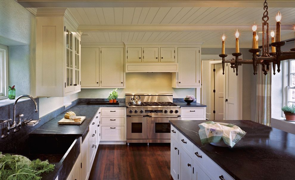 Soap Stone For A Farmhouse Kitchen With Off White Cabinets And Early American Colonial Home By Donald Lococo Architects