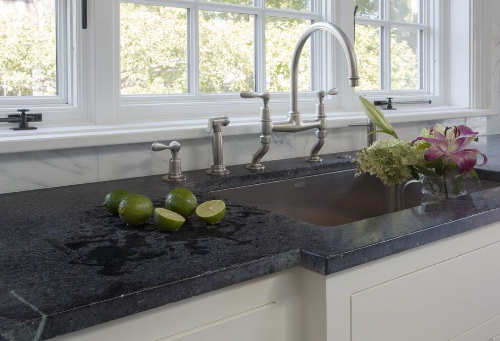 Soap Stone for a Traditional Kitchen with a Antique Oak Flooring and History is in the Details by Jewett Farms + Co.