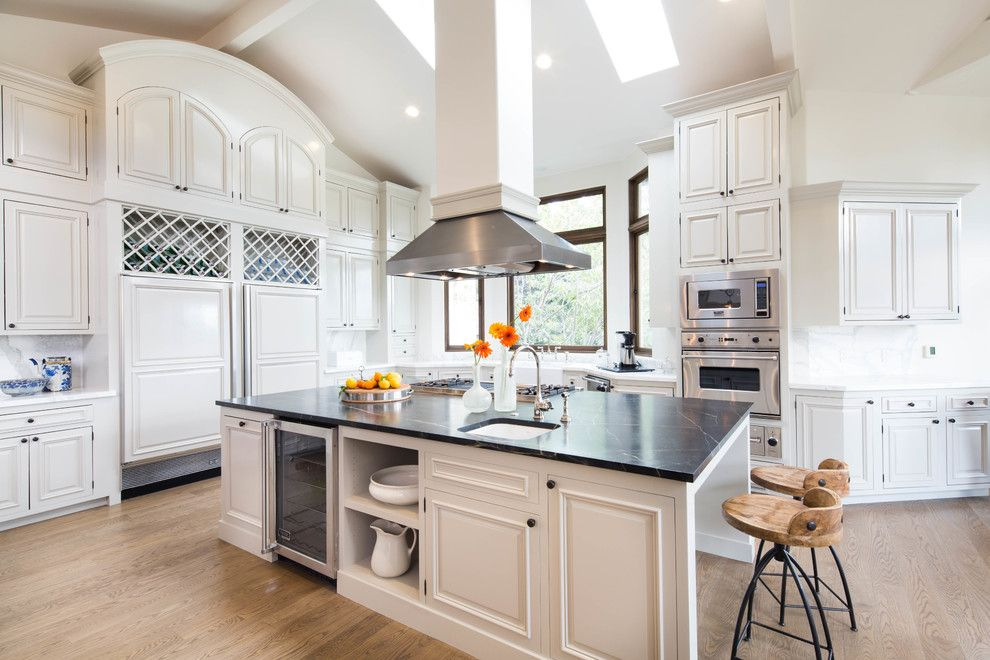 Soap Stone for a Traditional Kitchen with a Black Countertop and Malibu by Lori Henle Interiors