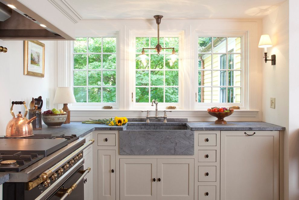 Soap Stone for a Traditional Kitchen with a French Windows and South Shore Gambrel by Frank Shirley Architects