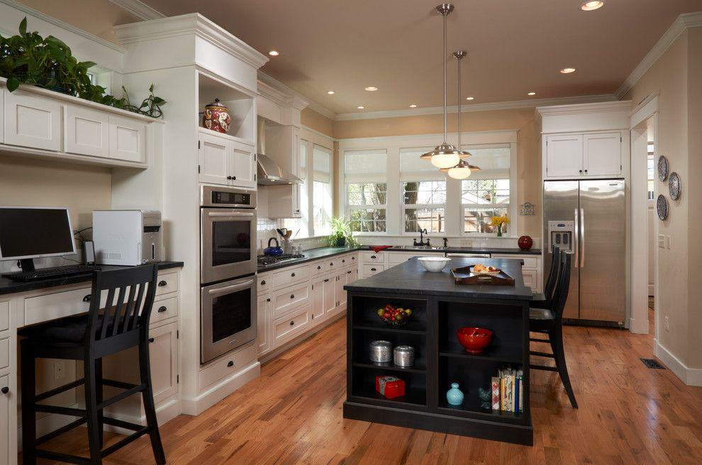 Soap Stone for a Traditional Kitchen with a Recessed Lights and S Corona St by Red Chair Designs