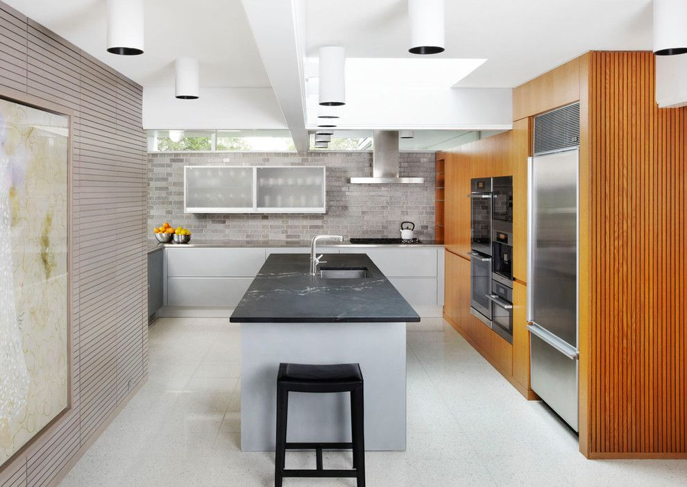 Soapstone for a Midcentury Kitchen with a Accent Walls and Sixties Spiffed by Welch Forsman Associates
