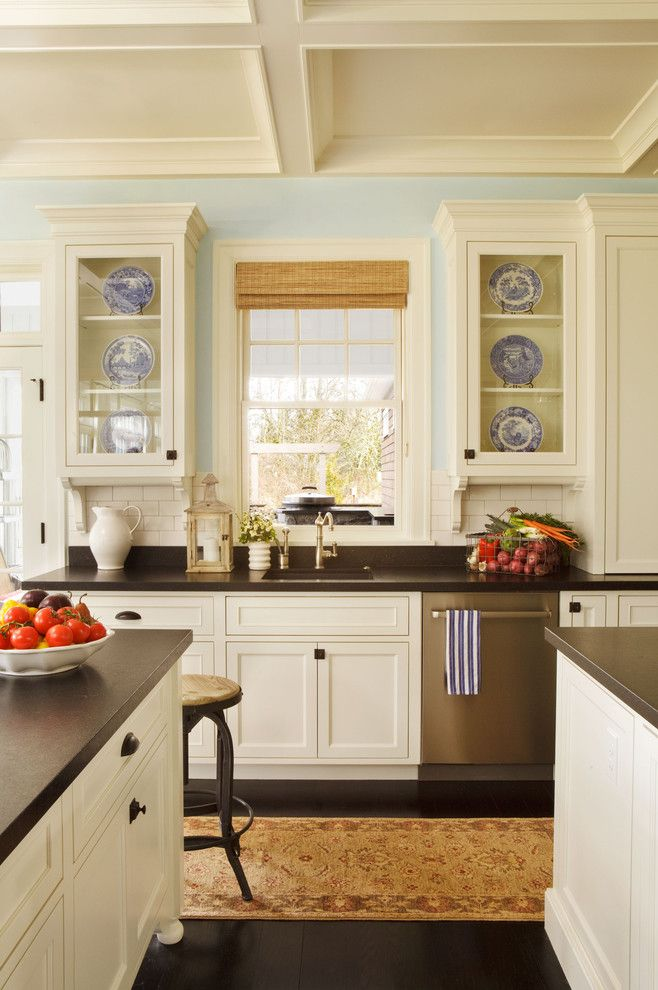 Soapstone vs Granite for a Traditional Kitchen with a White Kitchen and Camelia Court by Garrison Hullinger Interior Design Inc.