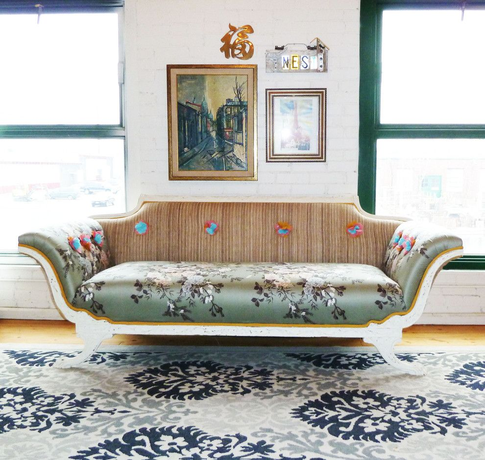 Sofa Mart Denver for a Shabby Chic Style Living Room with a Wall Decor and Empire Sofa in Loft Space by Vintage Renewal