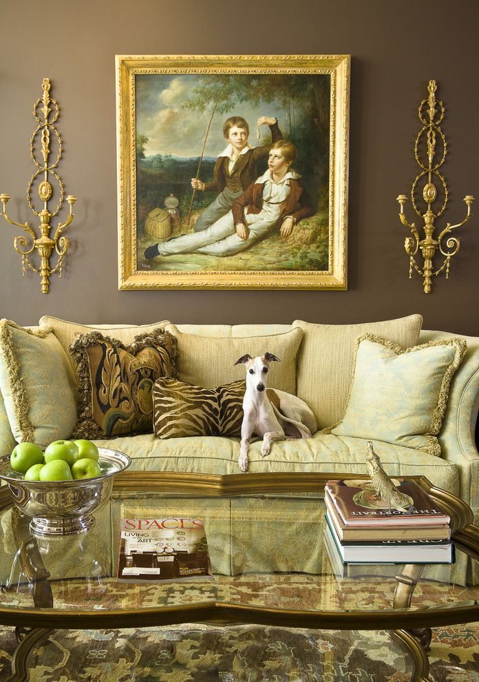 Sofa Mart for a Victorian Living Room with a Whippet and Mccroskey Interiors by Mccroskey Interiors
