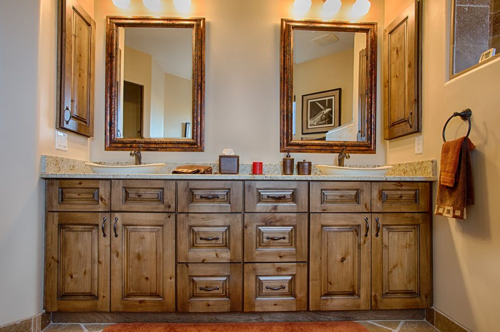 Sollid Cabinetry for a Southwestern Bathroom with a Rustic Vanity and Designer Series: Cheyenne by Sollid Cabinetry