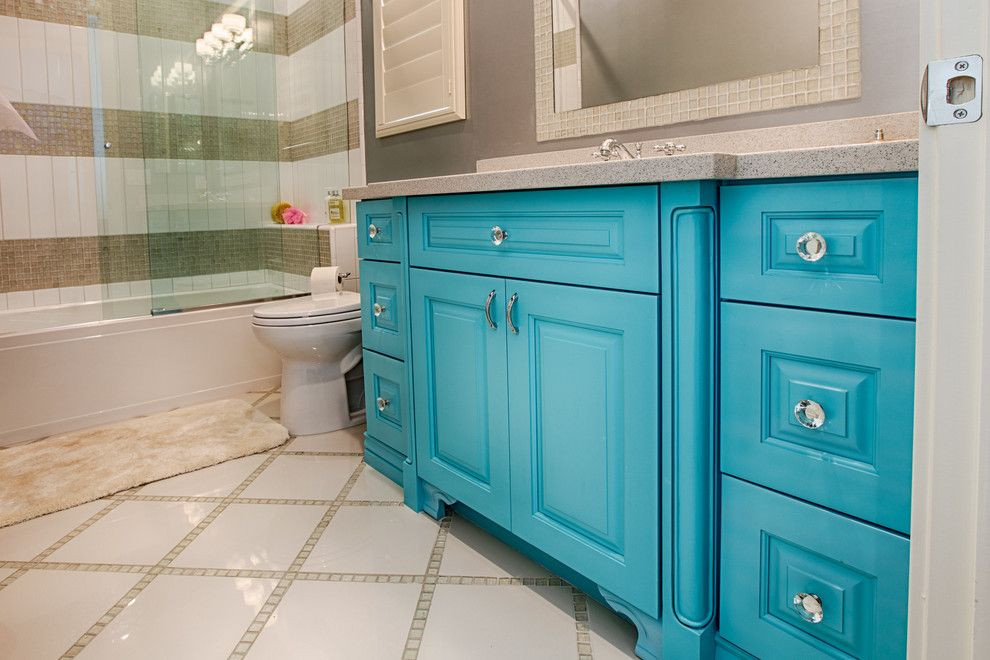 Sollid Cabinetry for a Transitional Bathroom with a Blue Kitchen and Designer Series   Valencia by Sollid Cabinetry