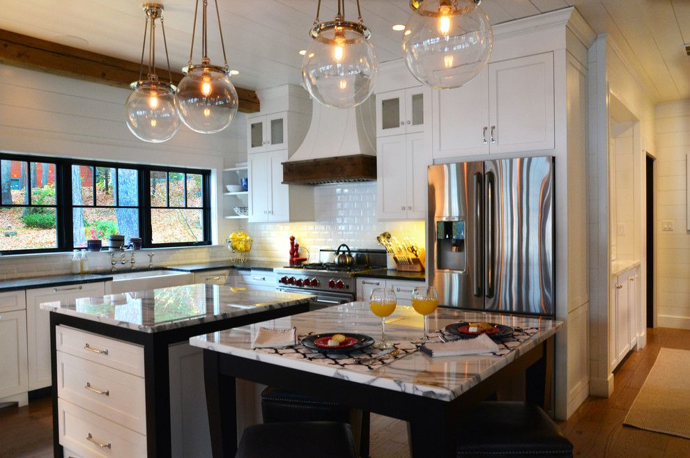 Sonoma Tile for a Farmhouse Kitchen with a Pendant Lighting and Lake Home by a Perfect Placement
