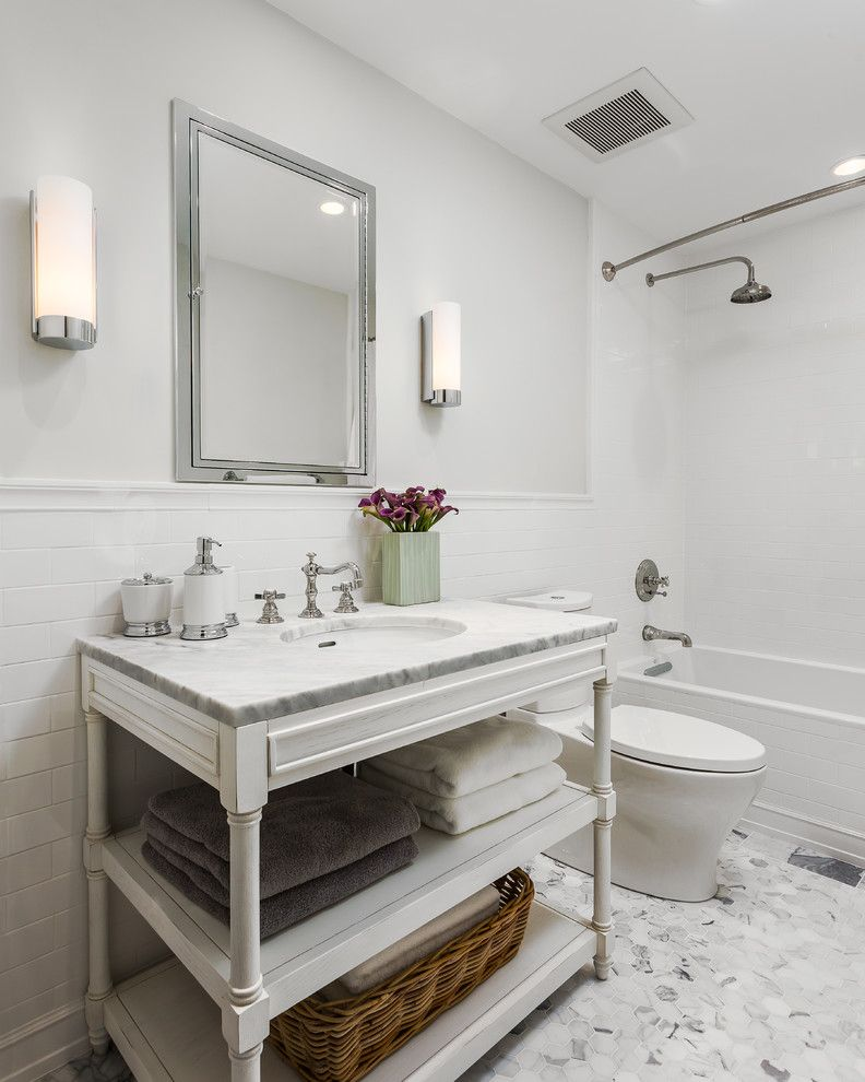 Sonoma Tile for a Transitional Bathroom with a Restoration Hardware and Linda Vista Guest Bath Remodel by Robert Frank Design