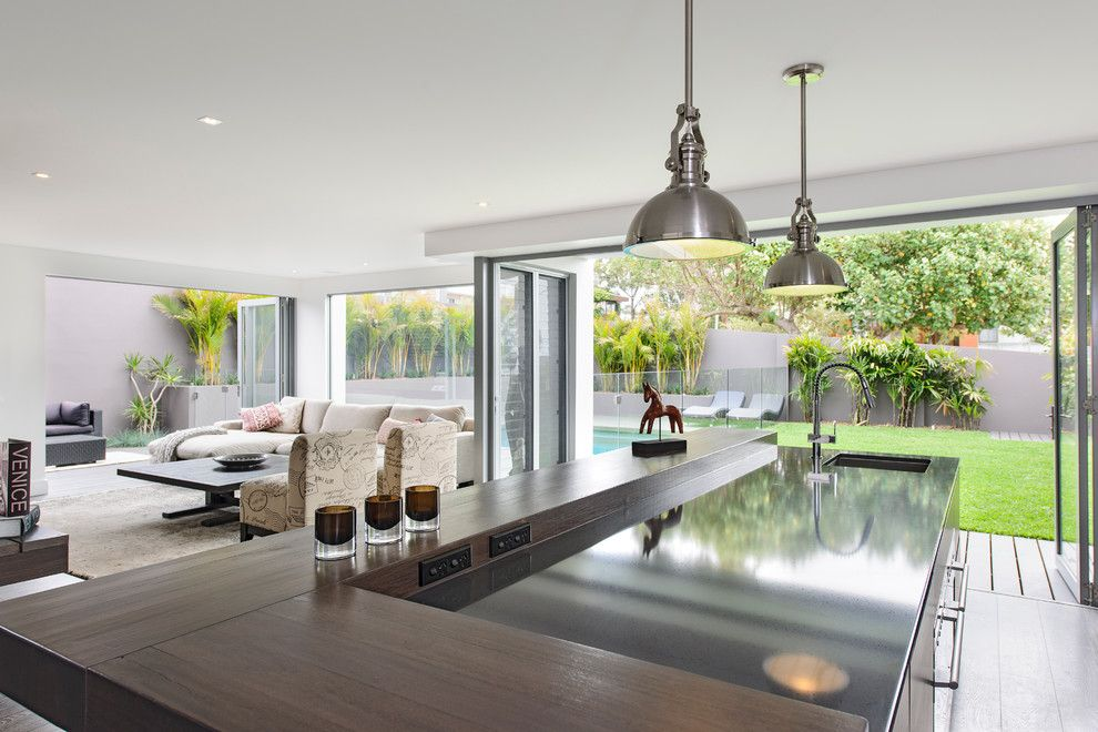 South Dade Lighting for a Contemporary Kitchen with a Pool and South Coogee   House by Capital Building