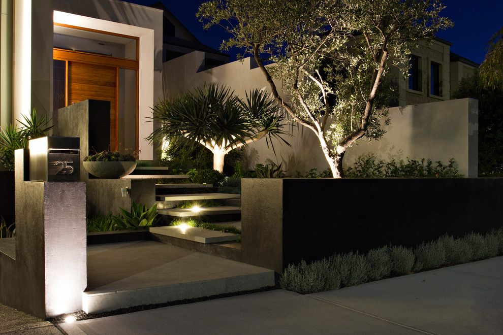 South Dade Lighting for a Contemporary Landscape with a Address Numbers and City Beach by Tim Davies Landscaping