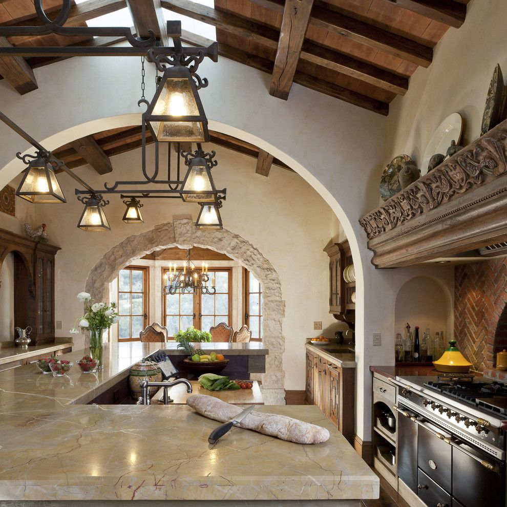 Southern Lights Mn for a Mediterranean Kitchen with a Wood Trusses and Mediterranean Equestrian Estate, Carmel, California by John Malick & Associates