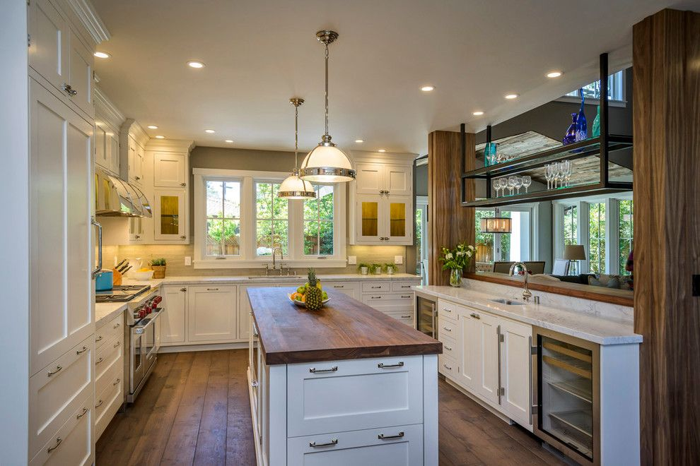 Spencers Appliance for a Traditional Kitchen with a Pendant Lights and Bow to the Trees in Menlo Park Makeover by Hamilton Gray Design, Inc.