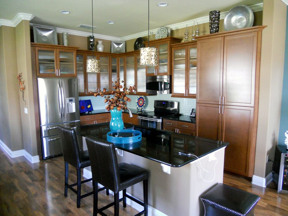 Spencers Appliances for a Contemporary Kitchen with a Blue Glass Backsplash and Windermere Townhouse by All About You   Ann & Angelo Cane/kristen Spencer