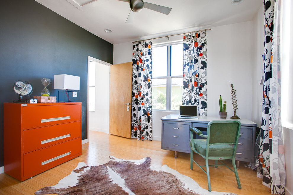 Sprintz Furniture for a Eclectic Home Office with a Ceiling Fan and Ava Lane by Kailey J. Flynn Photography