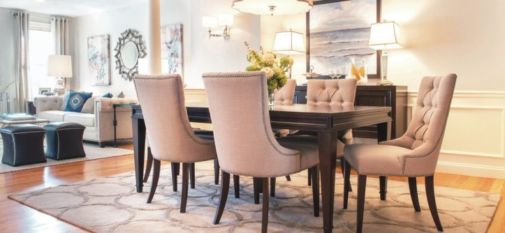 Sprintz Furniture for a Transitional Dining Room with a Dark Wood Sideboard and Dining Space by REFINED