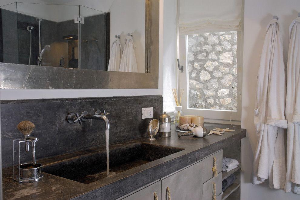 Stained Concrete Countertops for a Mediterranean Bathroom with a Bathroom Shelves and Villa Anacapri, Ancapri   Italy by Fabrizia Frezza Architecture & Interiors