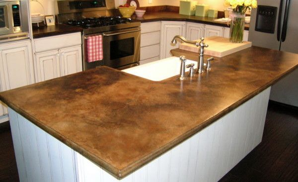 Stained Concrete Countertops for a  Spaces with a  and Brown Concrete Countertop by Jgbjo